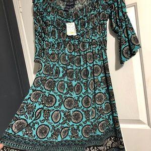 Stein Mart Max Edition Aqua Black Dress Small NWT